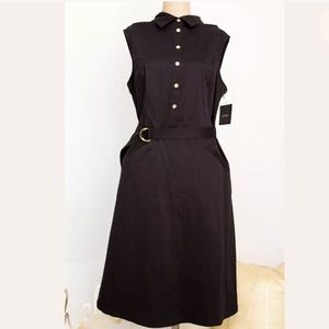 Ellen Tracy Dress Button Front 1/2 Belt Pocket 14